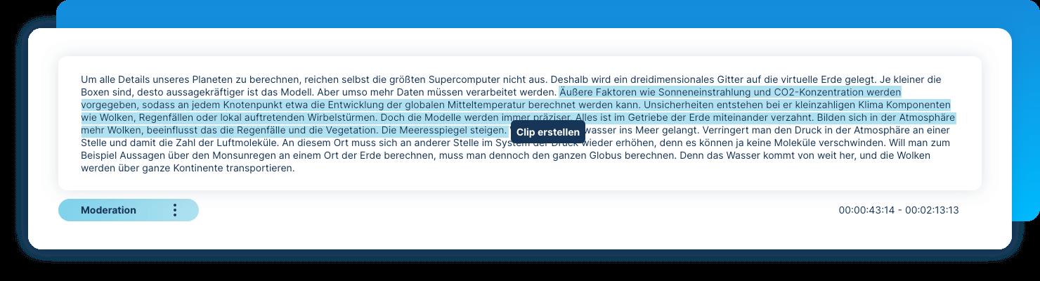 Clips erstellen im Transkript
